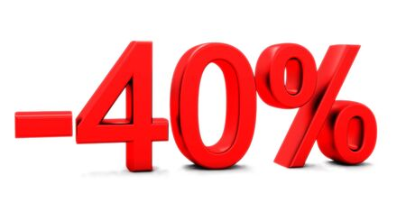 3D rendering of a 40 per cent in red letters on a white background Banco de Imagens