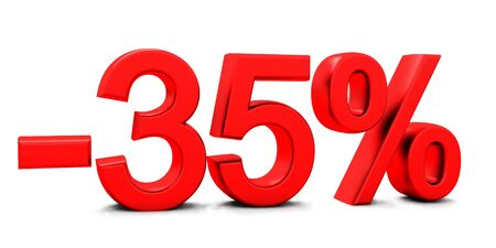 3D rendering of a 35 per cent in red letters on a white background