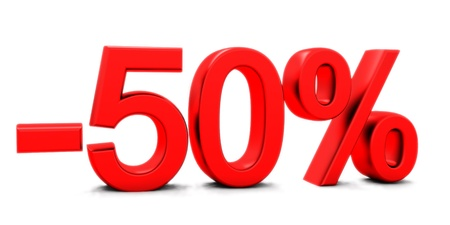 3D rendering of a 50 per cent in red letters on a white background