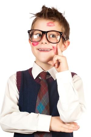 Prodigy: lovelas chłopiec w szminki z potargane włosy samodzielnie