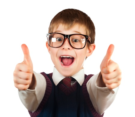 swot boy with glasses on a white Stockfoto