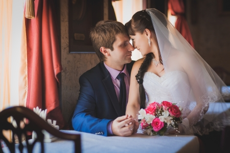 bride and groom are hugging in the classic interior Stock Photo - 22658211