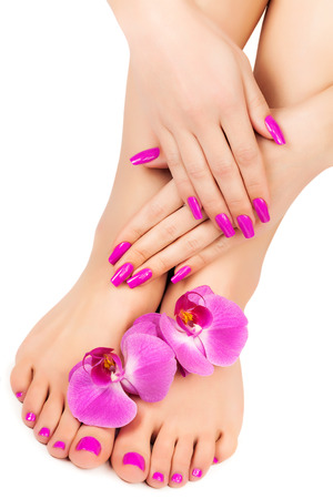 manicure and pedicure with a orchid flower