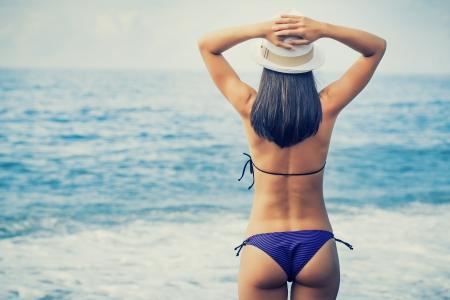 woman is enjoying with sea view Stockfoto