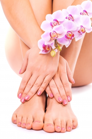 manicure and pedicure: Relaxing pink manicure and pedicure with a orchid flower