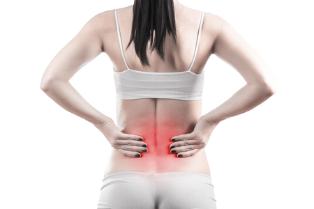 health woman: female body with back inflammation