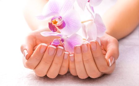 beauty care: beautiful manicure on white