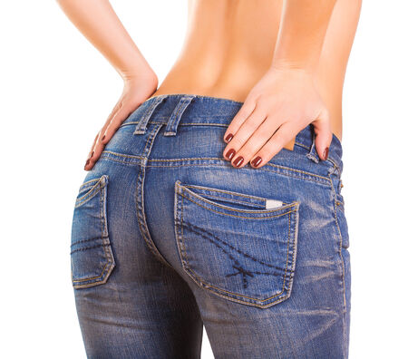 sexy woman bodyin blue jean