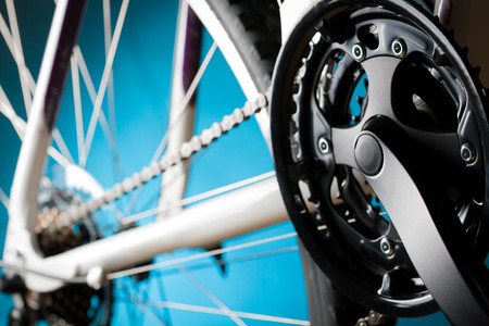 hub: Old road bicycle rear hub, sprockets and derailleur Stock Photo
