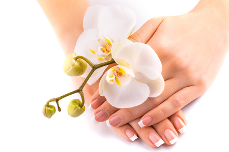 beautiful french manicure with white orchid on white Standard-Bild