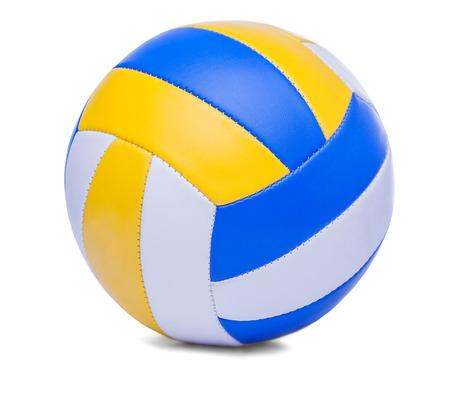 白い背景に暗い青、黄色ビーチバレー ボール ボール