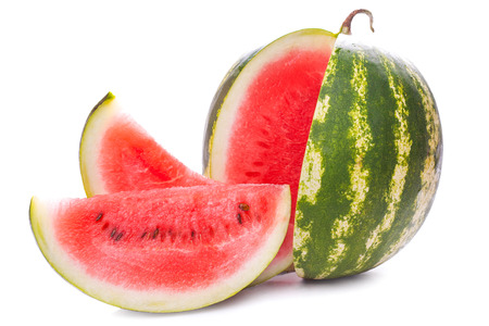 sliced watermelon: Sliced ripe watermelon isolated on white
