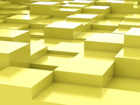 Abstract background of yellow 3d blocks photo