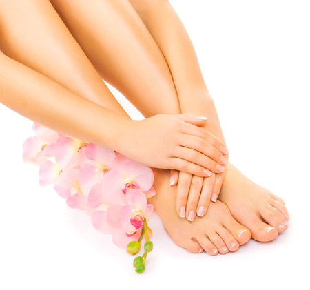 Relaxing manicure and pedicure with a pink orchid flower 스톡 콘텐츠