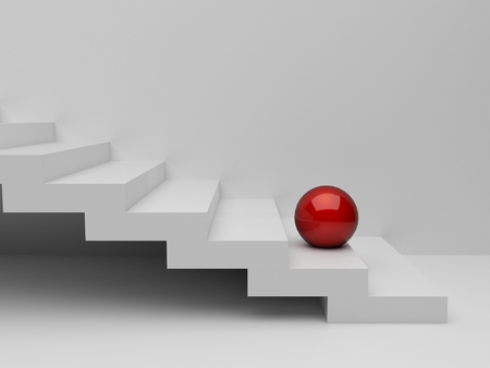 red sphere: 3d red sphere on white stairs. render Stock Photo