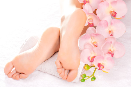 foot spa: Foot massage in the spa salon with orchid