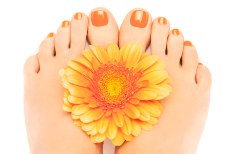 beautiful orange manicured nails with gerbera Stockfoto