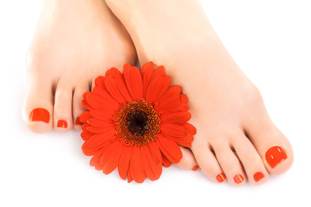 cosmetic lacquer: beautiful red manicured nails with gerbera Stock Photo