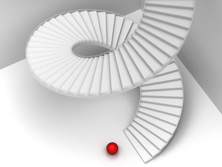 red sphere: Abstract Staircase Background and red sphere