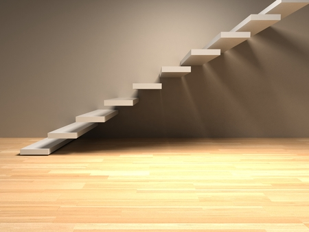 stairs interior: Abstract stairs in interior 3d render Stock Photo