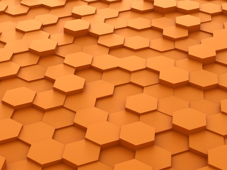 background of 3d orange hexagon blocks photo
