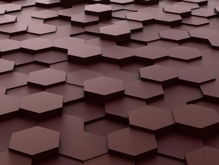 background of 3d brown hexagon blocks photo