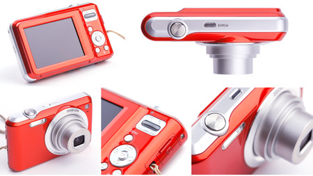 megapixel: set of red compact zoom digital camera over white