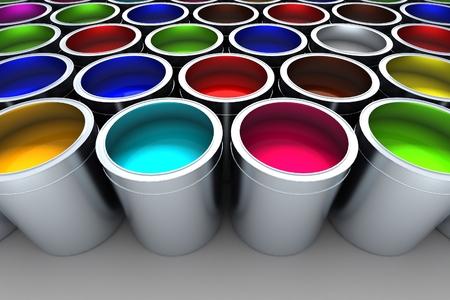 Pots de peinture palette de couleurs Banque d'images - 39880768