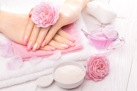 manicure: french manicure with essential oils, rose flowers. spa
