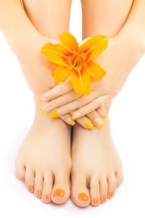 french pedicure: french pedicure with a orange lily flower isolated on the white Stock Photo
