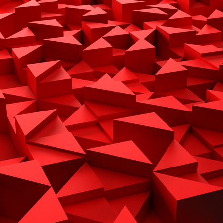 3d triangle: Abstract background of red 3d triangle blocks Stock Photo
