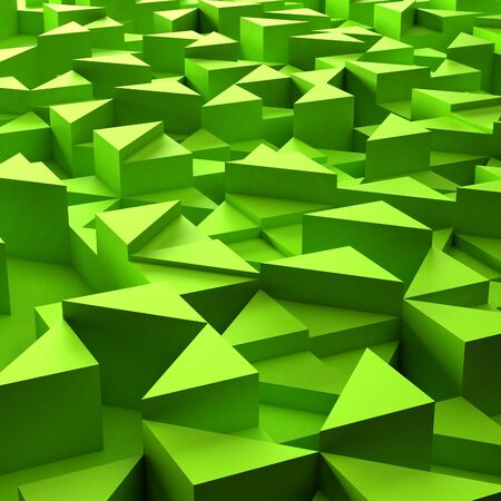 3d triangle: Abstract background of green 3d triangle blocks Stock Photo
