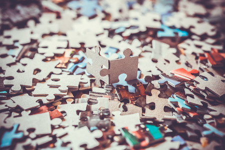 close up of the pieces of a puzzle Banque d'images