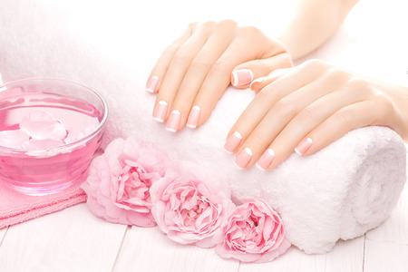 manicure woman: beautiful french manicure with pink tea rose flowers