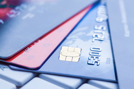 card commerce: macro shot with credit cards.