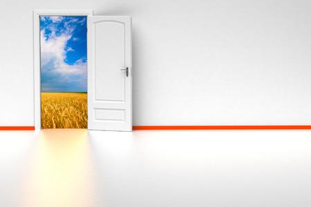 room door: white 3d room with opened door. render Stock Photo