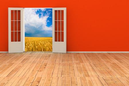 room door: empty 3d room with opened door. render