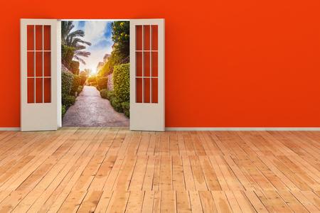 open space: empty 3d room with opened door. render