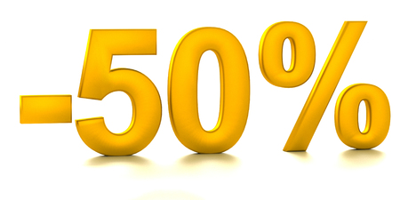 compounding: 50 Percent off. Discount. 3D illustration Stock Photo
