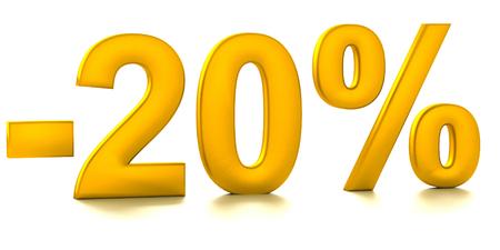 half cent: 20 Percent off. Discount. 3D illustration Stock Photo