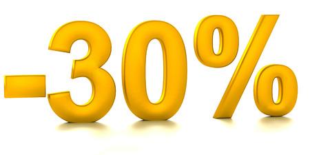 half cent: 30 Percent off. Discount. 3D illustration