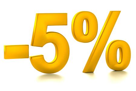 half cent: 5 Percent off. Discount. 3D illustration