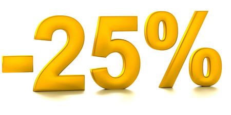 half cent: 25 Percent off. Discount. 3D illustration