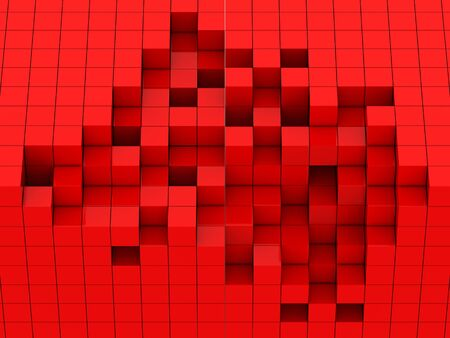 abstract cubes: abstract of 3d red cubes, blocks background Stock Photo