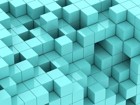 abstract cubes: abstract of 3d turquoise cubes, blocks background