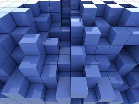 blue 3d blocks: abstract of 3d blue cubes, blocks background