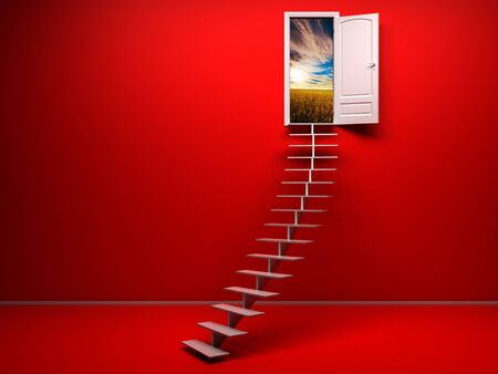 way of living: empty 3d red room with opened door. render