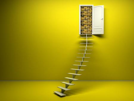 room door: empty yellow 3d room with opened door. render. Brick wall