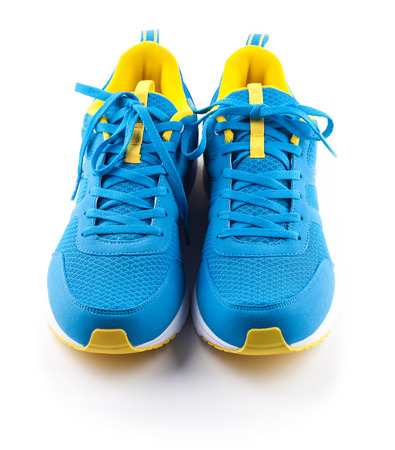 sport shoe: Pair of blue sport shoes isolated on the white background