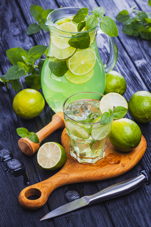 lemonade mojito in a glass on a black wooden background